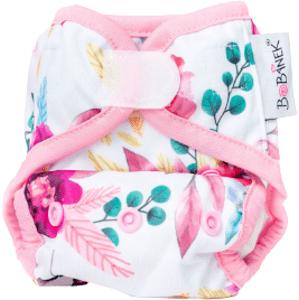 Bobánek Novorozenecké svrchní kalhotky suchý zip Růžové květiny 1ks
