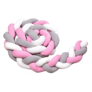 T-Tomi Pletený mantinel 220 cm White+Grey+Pink 1ks