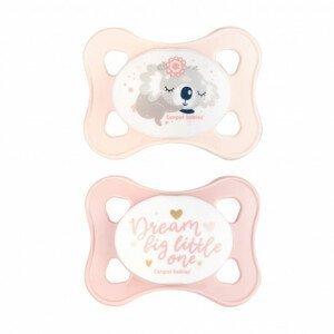 Canpol babies Set symetrických silikonových MINI dudlíků 0-2m SLEEPY KOALA růžový 2ks