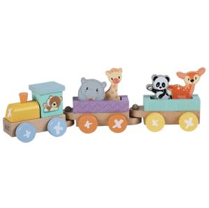 Sun baby Dřevěná lokomotiva+2 nákladní vagóny