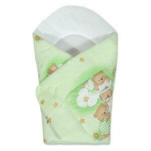 New Baby Dětská zavinovačka zelená s medvídkem