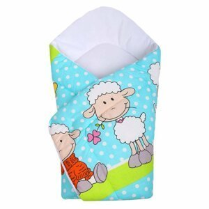 New Baby Dětská zavinovačka tyrkysová s ovečkou