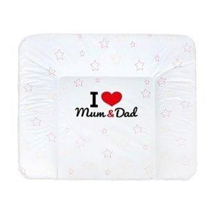 New Baby Přebalovací podložka měkká I love Mum and Dad bílá 85x70cm