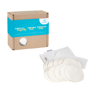 Bamboolik  Pratelné odličovací tamponky z biobavlny 10ks + síťka na praní v dárkové krabičce