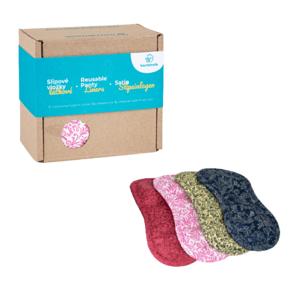 Bamboolik  Sada slipových látkových vložek z biobavlny mix barev v dárkové krabičce 4ks
