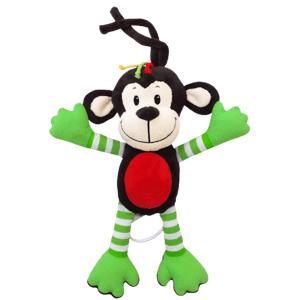 Baby Mix Dětská plyšová hračka s hracím strojkem,opice zelená