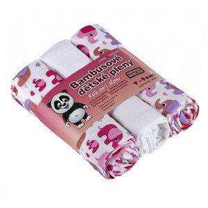 T-tomi  BIO Bambusové pleny, pink elephants / růžoví sloni