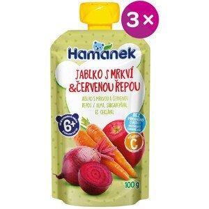 Hamánek Kapsička Jablko s mrkví a červenou řepou 3x100g