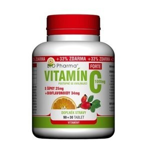 BIO Pharma Vitamin C 1000mg+šípky 25mg+bioflovonoidy 34mg 90+30 tablet