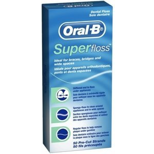Oral-B Denterosolventní měkká nit SuperFloss 50 m - nastříhané pásky