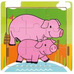 Bino  Dř. puzzle prasátka, 9 dílků