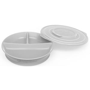 Twistshake Dělený talíř 6+m pastelově šedý