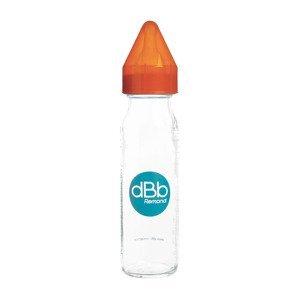 dBb kojenecká lahvička skleněná, savička silikon 0-4 měsíce, Orange 240ml