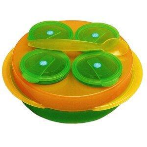 dBb Baby Snack, sada 4 misek, talíř, lžíce, oranžovozelená