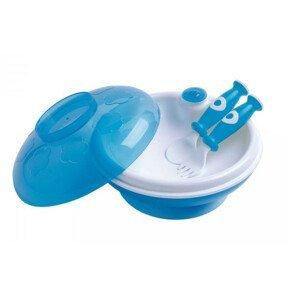 dBb Ohřívací talíř s víkem a lžící s vidličkou, modrobílý