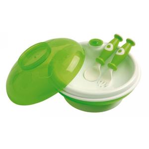 dBb Ohřívací talíř s víkem a lžící s vidličkou, zelený