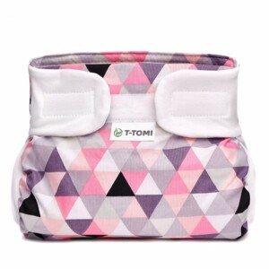 T-tomi  Ortopedické abdukční kalhotky - suchý zip, pink triangles 3-6kg