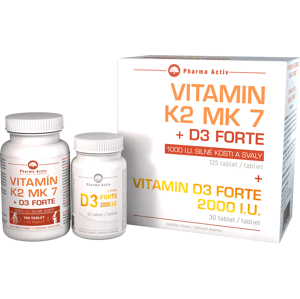 Pharma Activ Vitamín K2 MK7+D3 Forte tbl.125 + Vitamin D3 Forte 2000I.U. 30 tablet