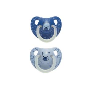 Suavinex Šidítko den/noc anatomické silikon 6-18m modrý medvěd 2ks