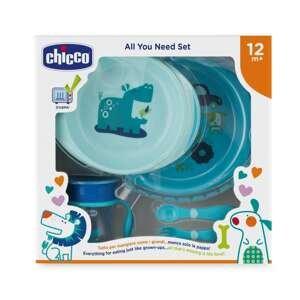 Chicco  Jídelní set - talíře, příbory, sklenka, 12m+ - modrý