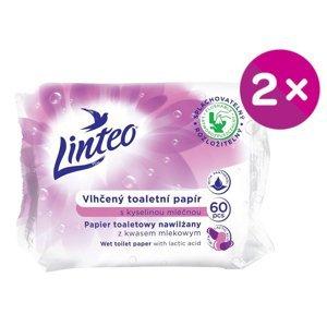 LINTEO Vlhčený toaletní papír s kyselinou mléčnou 2x60ks