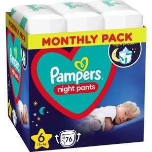 Pampers Night Pants Plenkové Kalhotky Velikost 6, 76 Kalhotek, 15kg+