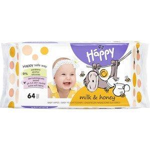 Bella Happy dětské vlhčené ubrousky Mléko+med 64ks