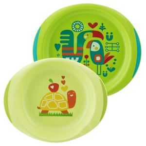 Chicco Jídelní sada,talíř,miska 12m+,zelená