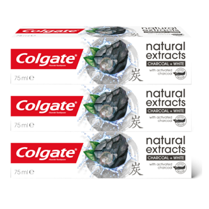 Colgate Natural Extracts Charcoal + White TRIO zubní pasta 3 x 75 ml