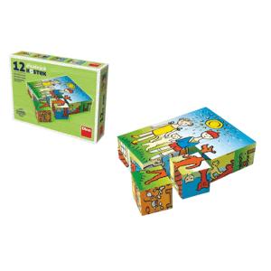 Dino Pejsek a kočička - Dřevěné kostky 12ks