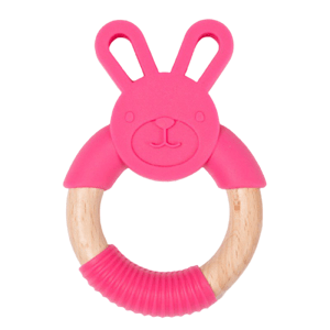 Bo Jungle Kousátko B-TEETHER ANIMAL WOOD Pink Rabbit