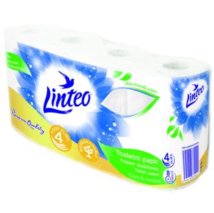 LINTEO Toaletní papír 4vrstvý, bílý 8 rolí