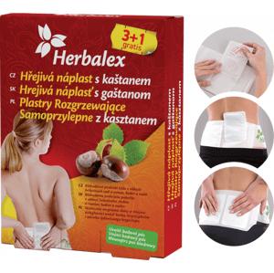 Herbalex Hřejivá náplast s kaštanem 3+1 gratis + Bederní pás