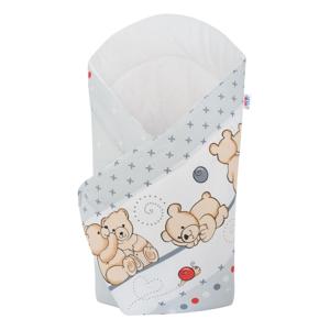 New Baby Dětská zavinovačka světle šedá s medvídkem