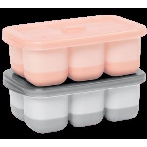 Skip Hop, Nádobky na uskladnění jídla s flexibilním dnem Easy Fill Grey, Coral,12 porcí x60ml