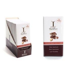 BALANCE Mléčná čokoláda s lískovými ořechy bez přidaného cukru 100 g