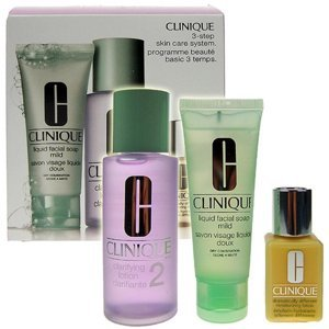 Clinique 3step Skin Care System2  50ml 50ml Liquid Facial Soap Mild + 100ml Clarifying