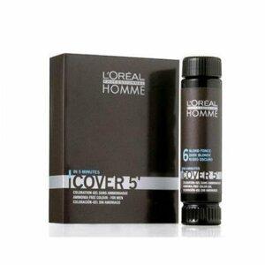 L'ORÉAL Homme Cover 5' Gelová barva na vlasy Světle hnědá 3x50 ml
