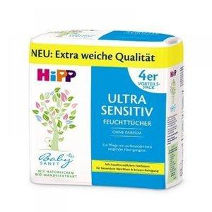 HiPP BabySanft Čistící vlhčené ubrousky Ultra Sensitiv 4x 52 kusů