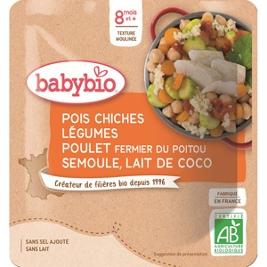 BABYBIO Cizrna se zeleninou, kuřecím masem a kokosovým mlékem 190 g