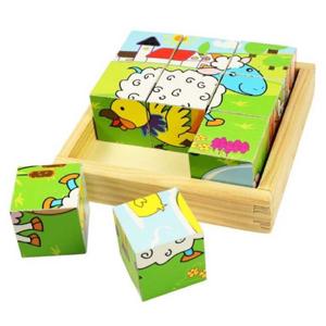 BIGJIGS Toys Obrázkové kostky kubusy Zvířátka