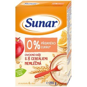 SUNAR Nemléčná ovocná kaše s 8 cereáliemi 220 g