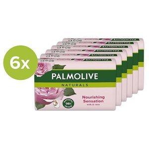 PALMOLIVE Naturals Tuhé mýdlo Milk & Rose 6x 90 g