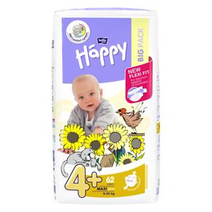 Happy Maxi plus big pack dětské pleny 9 - 20 kg 62 ks, poškozený obal