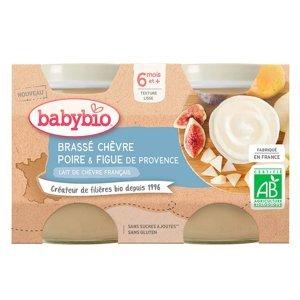 BABYBIO Brassé  z kozího mléka hruška fík 2x130 g