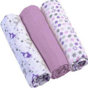 BABYONO Pleny mušelínové Super soft fialové 3 ks